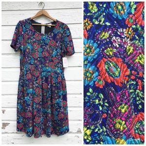 LuLaRoe Amelia Dress - Floral and Paisley Print